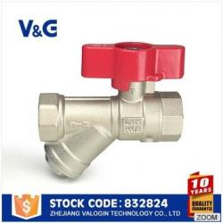VG10-02833 3 way brass butterfly handle ball strainer valve