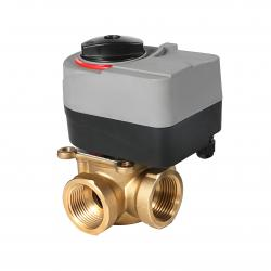Brass Rotary Actuator Mixing Diverting Motorized Valve