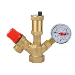 Safety Valve With Air Vent Boiler SetsBoiler Valve Set with 6 Bar Manometer Vent Valve
