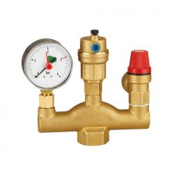 Brass Boiler Parts Set with Manometer Safety valve