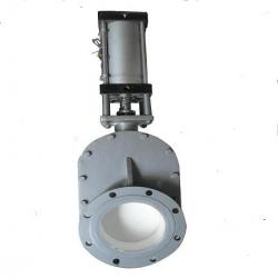 Pneumatic ceramic double plate gate valve