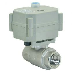 BSP/NPT 1/2'' 2 way DC5V with manual override and indicator electric ball valve