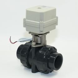 BSP/NPT 1 1/4'' 2 way UPVC AC/DC9-24V CR202 Motorized Ball valve