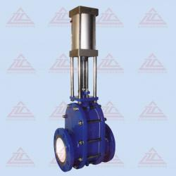 Pneumatic ceramic double-disc gate valve